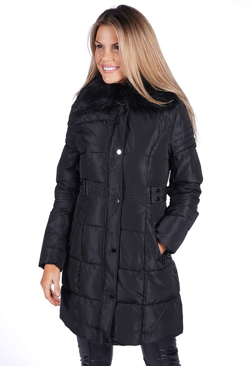 Pamela Scott Black Belted Coat with Detachable Faux Fur Collar