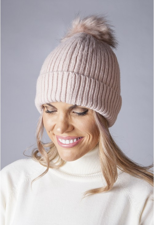 Pamela Scott Dusty Pink Knit Hat with Pompom