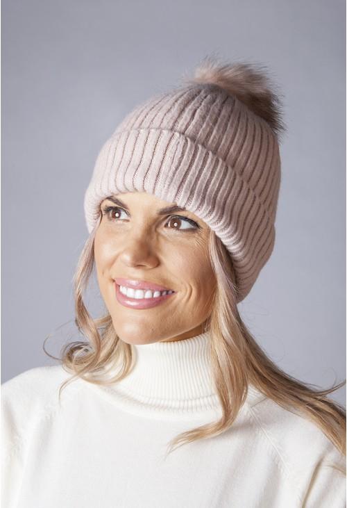 Pamela Scott Dusty Pink Knit Hat with Pompom