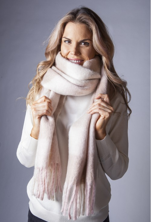 Pamela Scott Soft Pink and Beige Checked Woolly Scarf