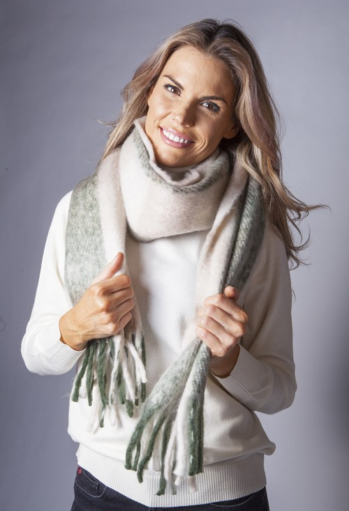 Pamela Scott Khaki and Beige Checked Woolly Scarf