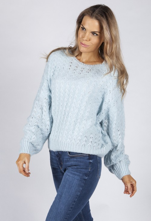 Pamela Scott Soft Sky Blue Knit Jumper