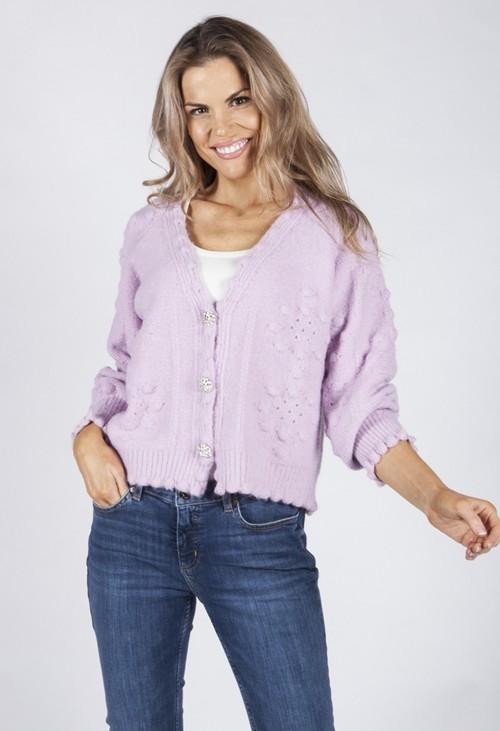 Pamela Scott Soft Lilac Knit Cardigan