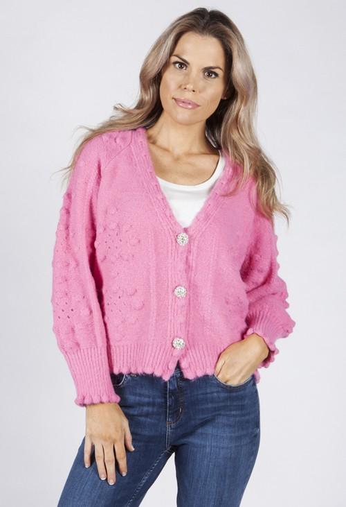 Pamela Scott Soft Bright Pink Knit Cardigan