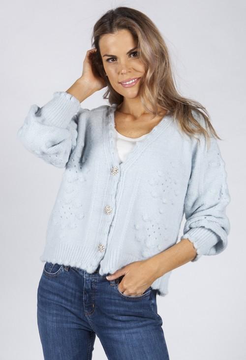 Pamela Scott Soft Sky Blue Knit Cardigan