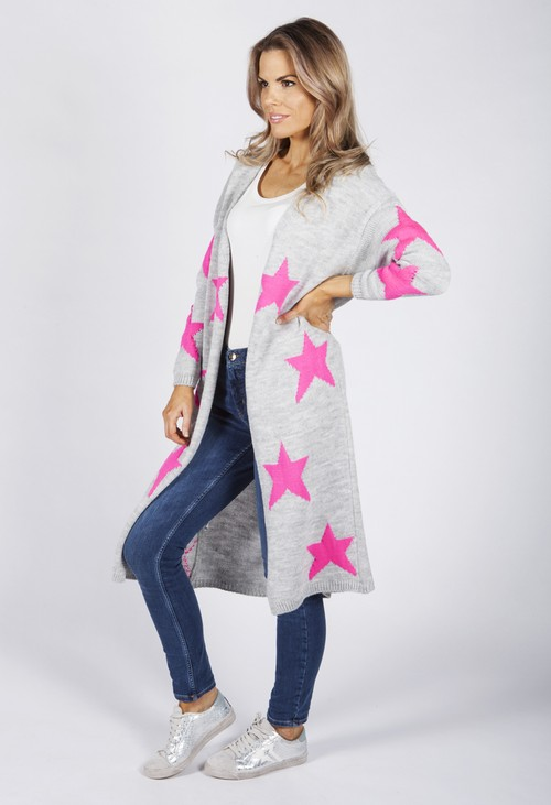Zapara Light Grey Knit Cardigan with Pink Star Design