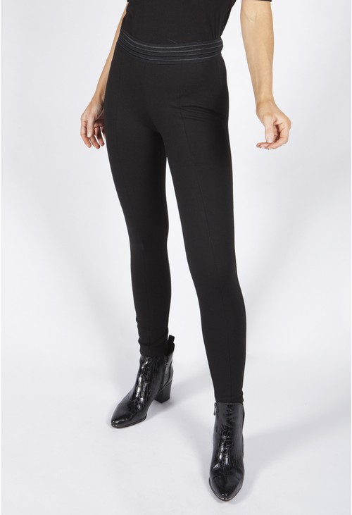 Pamela Scott Black Leggings with Stretch Waistband