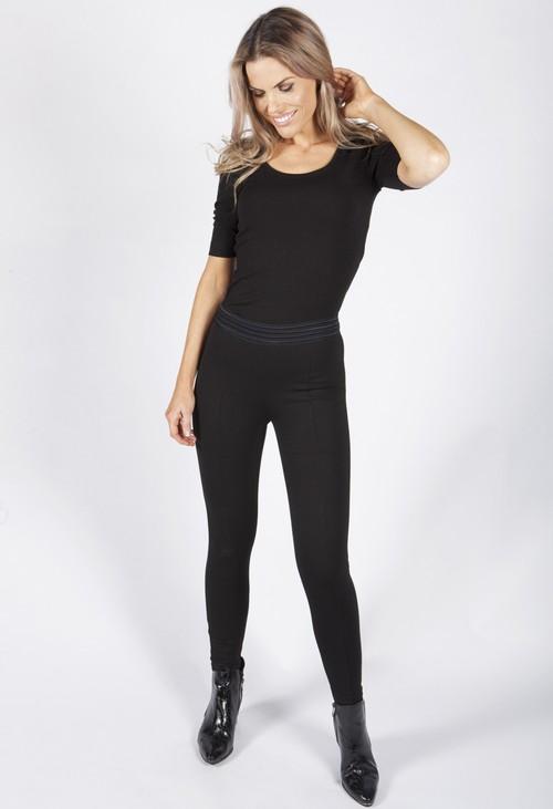 Pamela Scott Black Leggings with Stretch Waistband