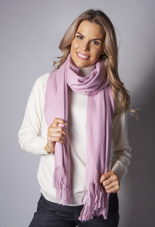 Pamela Scott Soft Pink Wool Feel Scarf
