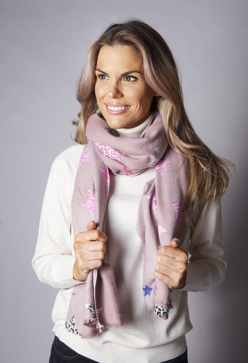 Pamela Scott Dusty Pink Scarf With Star Design