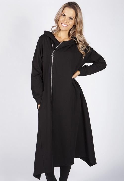 Zapara Black Hooded Zip Up Dress