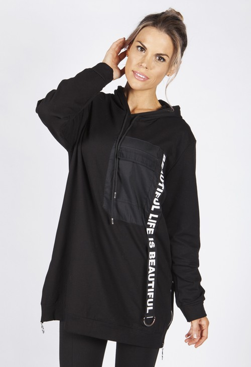 Zapara Black Hooded Tunic with Logo Strap