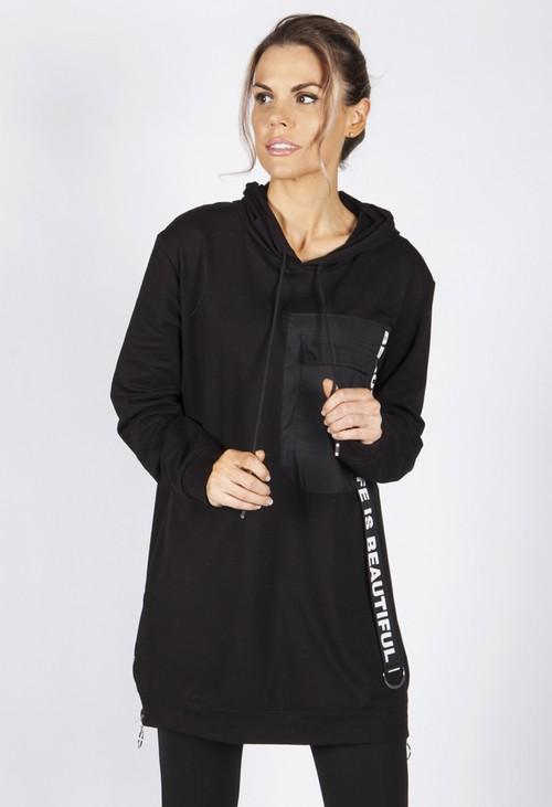 Zapara Black Hooded Tunic with Logo Strap