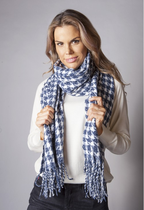 Pamela Scott Navy Hounds Tooth Scarf