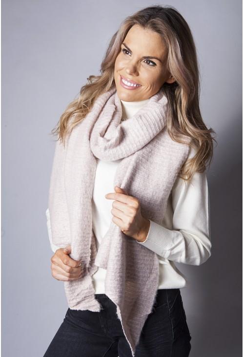 Pamela Scott Dusty Pink Super Soft Wool Feel Scarf