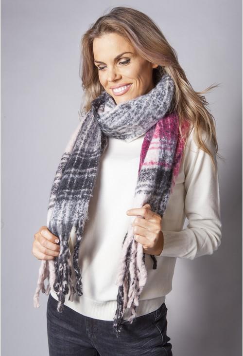 Pamela Scott Fuchsia and Charcoal Checked Knit Scarf