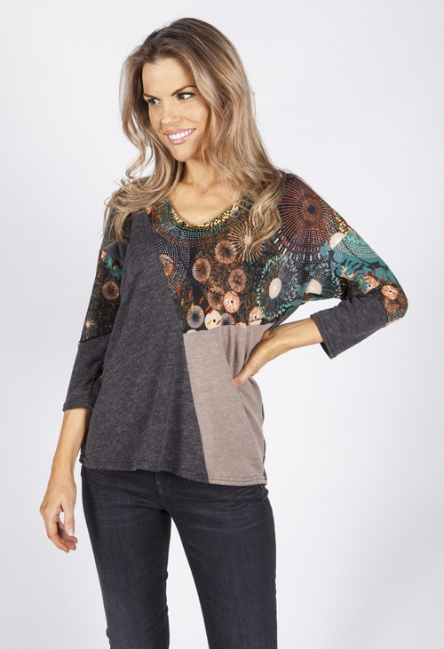 Sophie B Charcoal Circle Design Panel Top