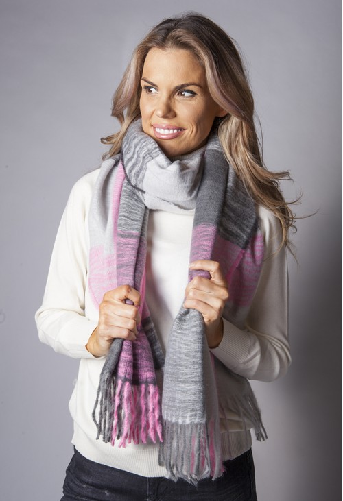 Pamela Scott Grey and Pink Panelled Scarf