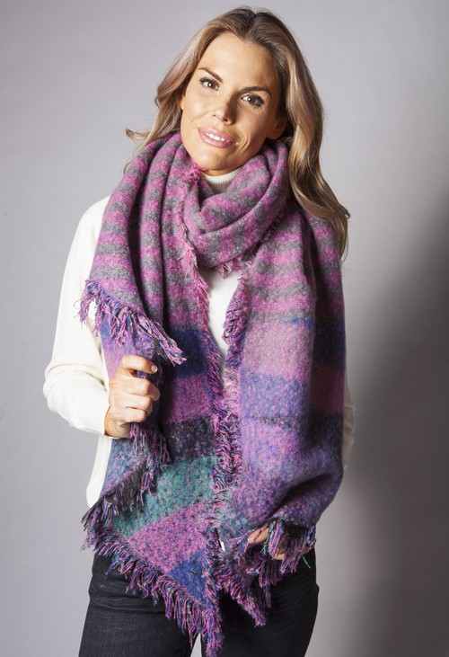 Pamela Scott Pink Checked Super Soft Wool Feel Scarf