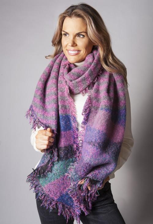 Pamela Scott Pink Checked Super Soft Wool Feel Scarf
