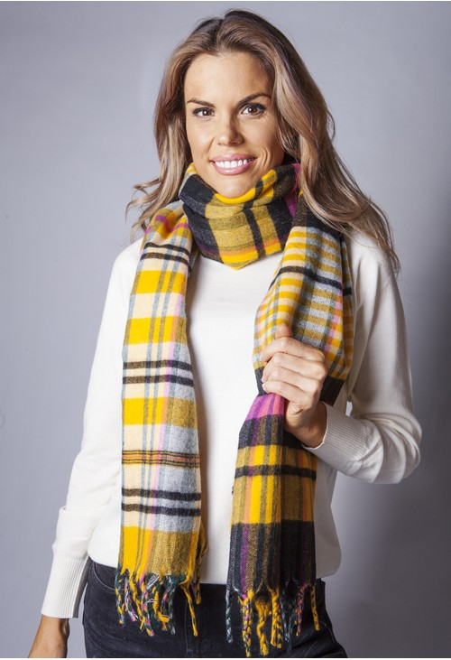 Pamela Scott Yellow Checked Knit Scarf