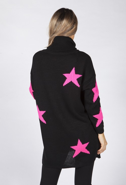 Zapara Black Knit Tunic with Pink Star Design