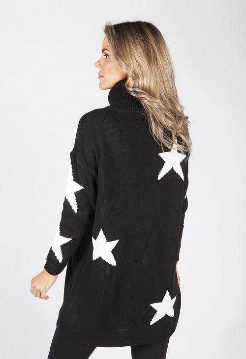 Zapara Black Knit Tunic with White Star Design