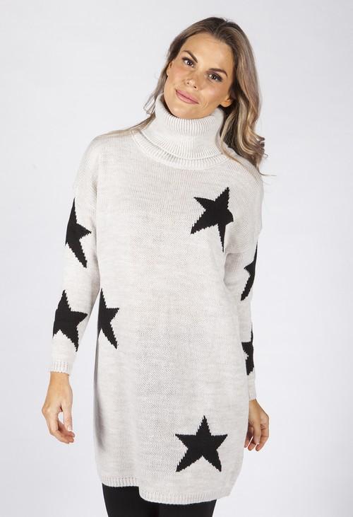 Zapara Beige Knit Tunic with Black Star Design