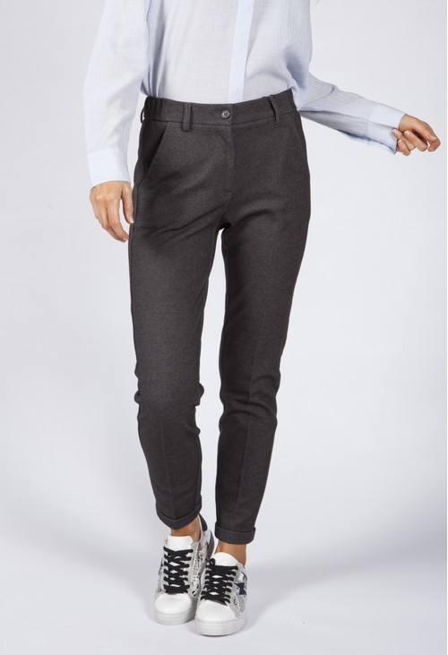 Opus Charcoal Turned Up Leg Trousers