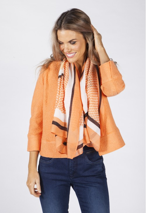 Opus Fresh Orange Patterned Scarf