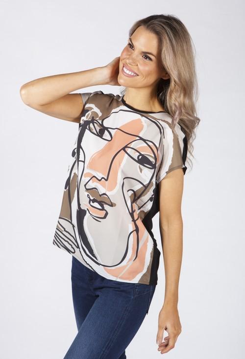 Opus Black Sanosi Print Shirt