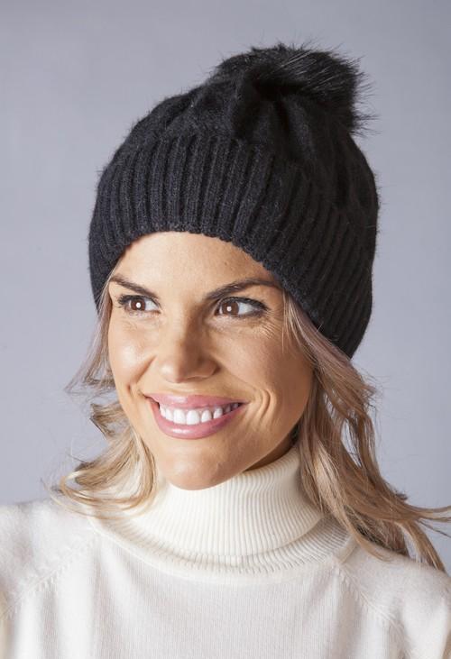 Pamela Scott BLACK Cable KNIT POMPOM HAT