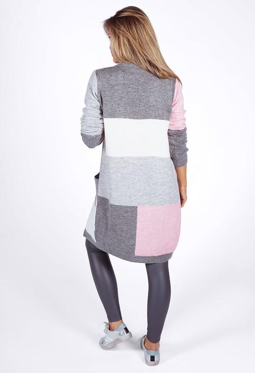Twist Grey Colour Block Cardigan