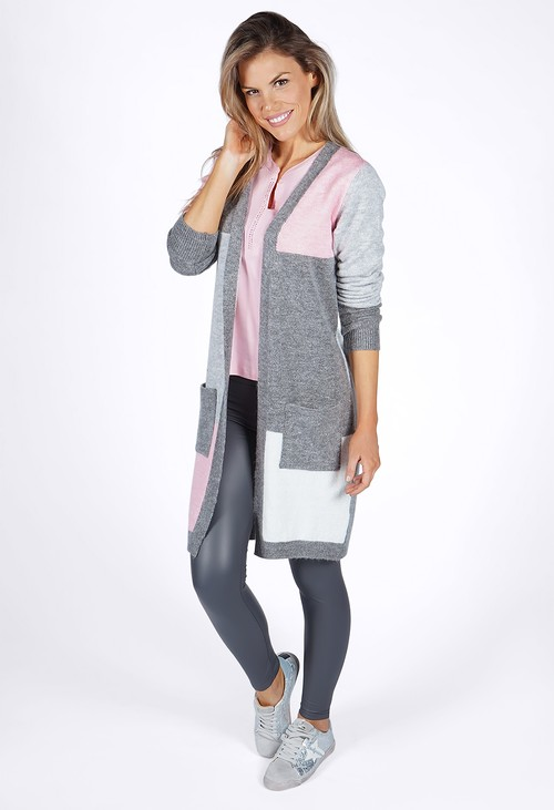 Twist Grey Colour Block Cardigan