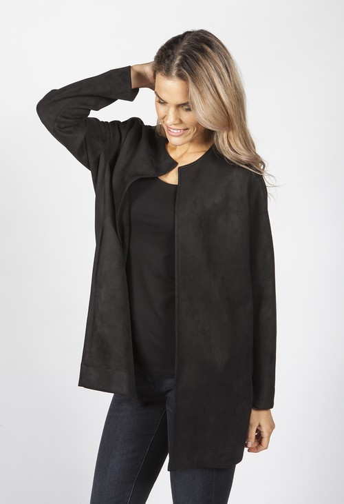 Pamela Scott Black Suede Long Line Blazer