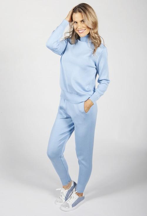 Pamela Scott Sky Blue Knit Jogger Set