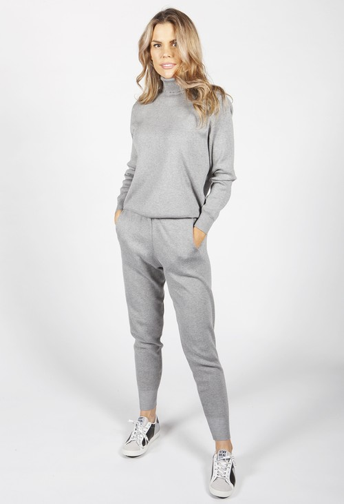 Pamela Scott Light Grey Knit Jogger Set