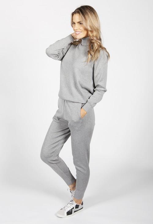 Pamela Scott Light Grey Knit Jogger Set
