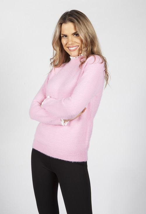 Pamela Scott Bright Rose Knit Jumper with Lace Details