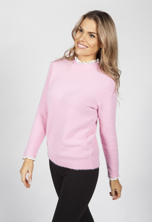 Pamela Scott Bright Rose Knit Jumper with Lace Details
