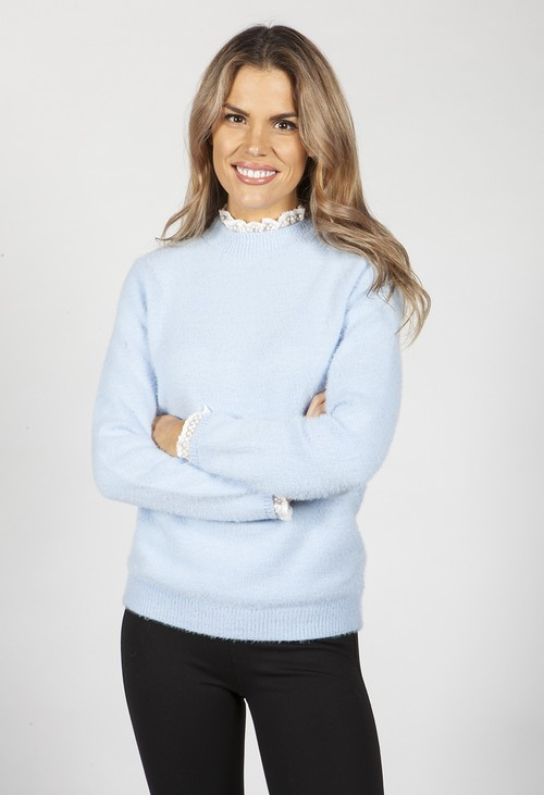 Pamela Scott Tiffany Blue Knit Jumper with Lace Details