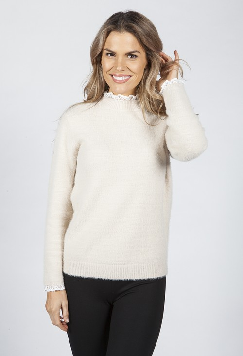 Pamela Scott Hazelnut Knit Jumper with Lace Details