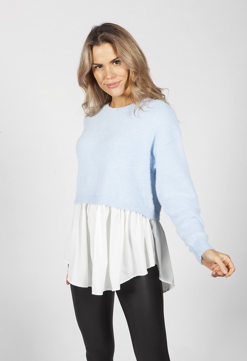 Pamela Scott Tiffany Blue Knit Jumper with Shirt Details