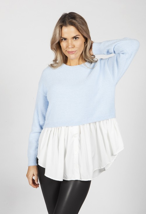 Pamela Scott Tiffany Blue Knit Jumper with Shirt Details
