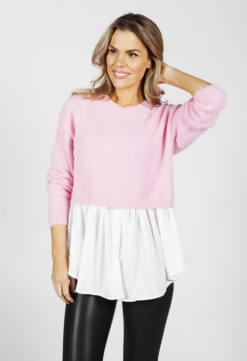Pamela Scott Bright Rose Knit Jumper with Shirt Details