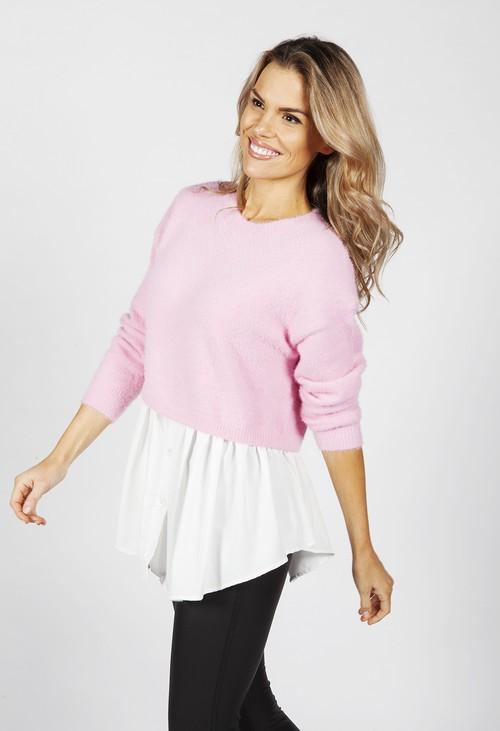 Pamela Scott Bright Rose Knit Jumper with Shirt Details