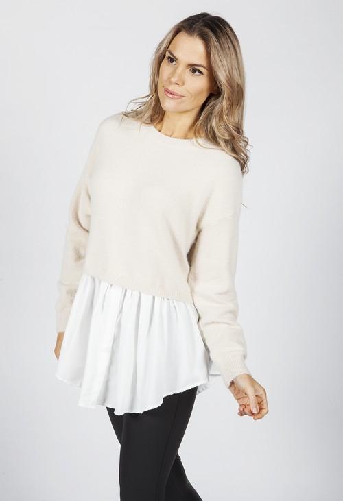 Pamela Scott Hazelnut Knit Jumper with Shirt Details