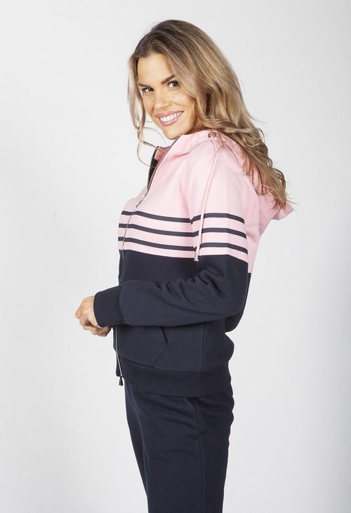 Twist Navy and Pink Stripe Hoodie