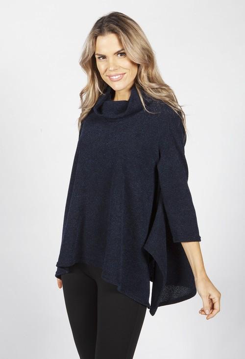 Pamela Scott Navy Boucle Knit Tunic