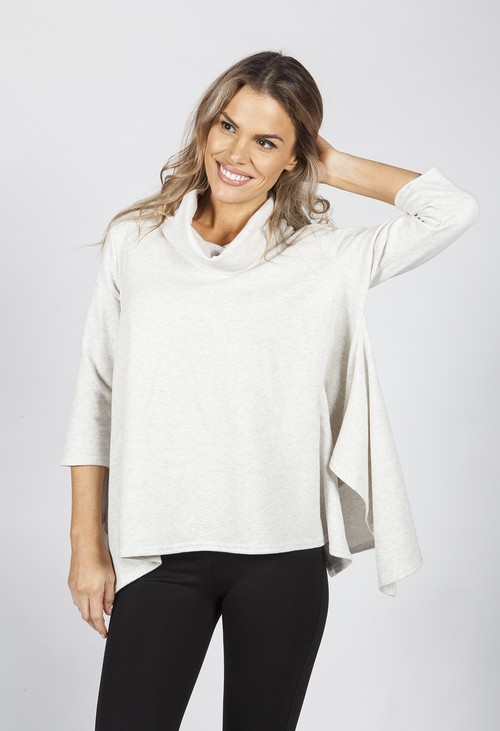 Pamela Scott Oatmeal Cowl Neck Tunic